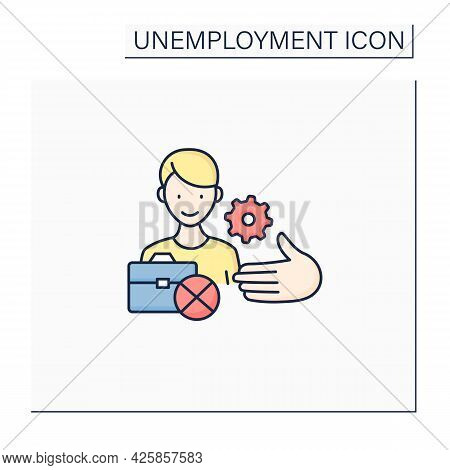 Unemployment Services Color Icon. Service To Protect Employees.help With Finding Job. Employment Cen