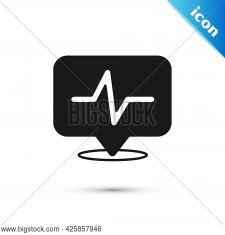 Grey Heart Rate Icon Isolated On White Background. Heartbeat Sign. Heart Pulse Icon. Cardiogram Icon