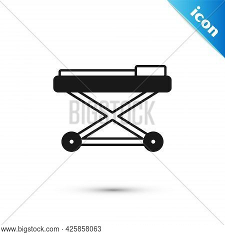 Grey Stretcher Icon Isolated On White Background. Patient Hospital Medical Stretcher. Vector
