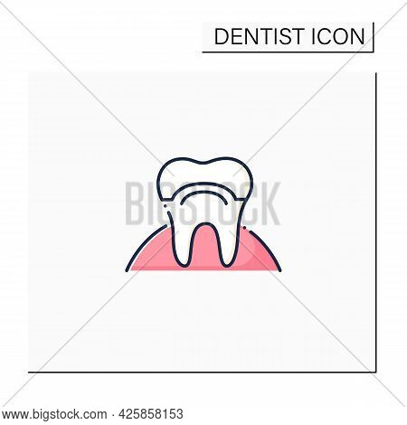 Smile Reconstructions Color Icon. Cosmetic Dentistry. Tooth Removal And Bite Correction Concept. Tee