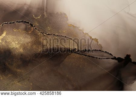 Art Abstract black, brown and gold watercolor painting blots landscape horizontal background. Alcohol ink colors. Marble texture.