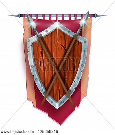 Medieval Game Shield Vector Illustration, Royal Red Banner, Knight Vintage Heraldry Iron Spear Symbo