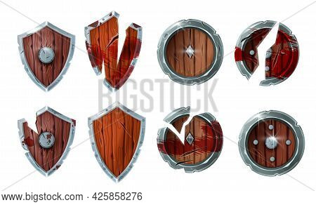 Game Wooden Broken Shield Vector Medieval Icon Set, Fantasy Warrior Battle Armor Collection. Ui Awar