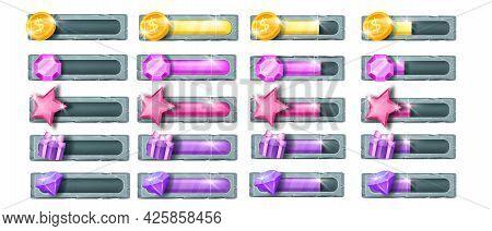 Game Progress Vector Bar Set, User Interface Bonus, Energy Life Level Illustration Isolated On White
