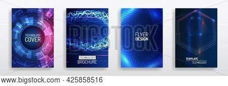 Blue Layout Futuristic Brochures, Flyers, Placards. Contemporary Science And Digital Technology Conc