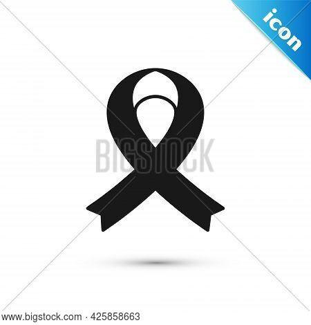 Grey Awareness Ribbon Icon Isolated On White Background. Public Awareness To Disability, Medical Con