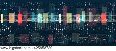 Filtering Machine Algorithms. Wide Big Data Visualization. Information Analytics Concept. Sorting Da