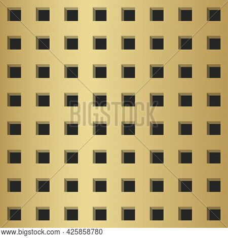 Peg Board Perforated With Square Holes. Golden Panel With Realistic Metal Texture Background. Top Vi