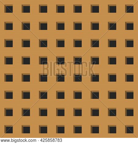 Perforated Peg Board With Square Holes. Seamless Repeat Pattern Background, Brown Board For Work Too