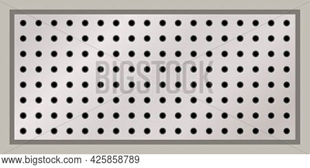 Rectangular Peg Board Perforated With Round Holes. Metal Or Stainless Steel  Texture Background, Boa