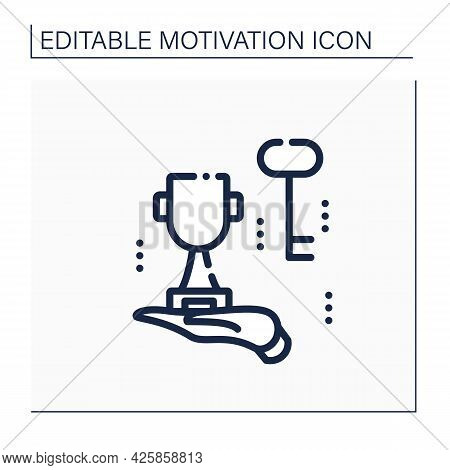 Success Key Line Icon. Secret Of Being Successful. Factors Needed To Achieve Or Accomplish Success.