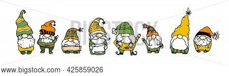 Vector Set Of Gnomes, In Orange-yellow And Green Colors. Hand-drawn Cartoon-style Autumn Isolated Fu