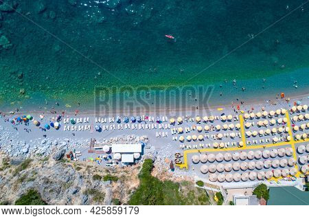 Budva, Montenegro - August 31, 2019: Jaz beach near Budva. Aerial view of Adriatic sea coast