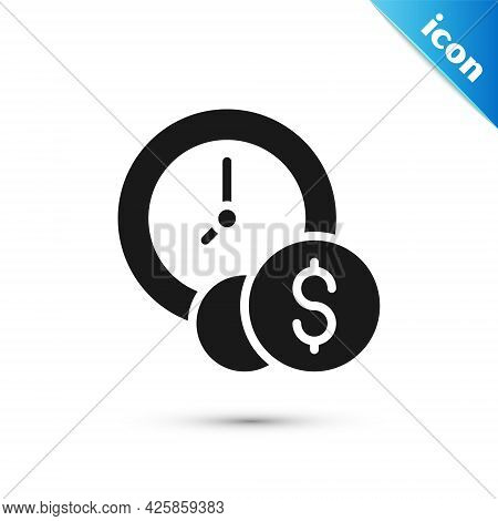 Grey Time Is Money Icon Isolated On White Background. Money Is Time. Effective Time Management. Conv
