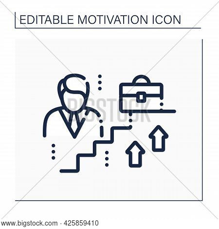 Career Growth Line Icon.professional Advancement. Opportunities For Rapid Self-improving At Work. Mo