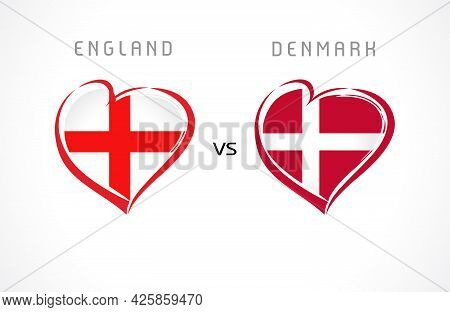 England Vs Denmark, Flags In Heart Emblem. English And Danish National Team Soccer Flags On White Ba