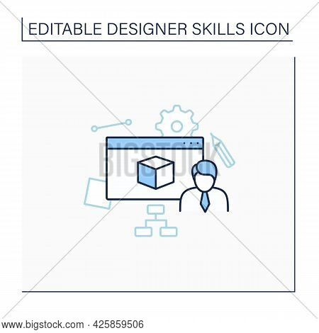 User Modeling Line Icon. Defining Target Audience, Adapting Systems To Audience Needs.designer Skill