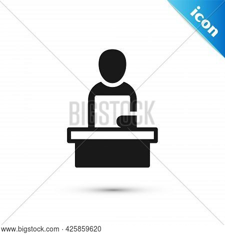 Grey Breaking News Icon Isolated On White Background. News On Television. News Anchor Broadcasting.