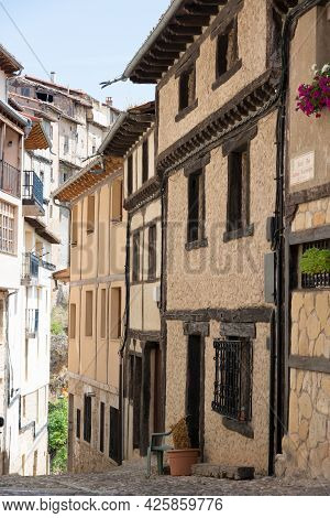 Beautiful Old Street With Traditional Houses And No People At Frias, Burgos, Merindades, Spain, Euro