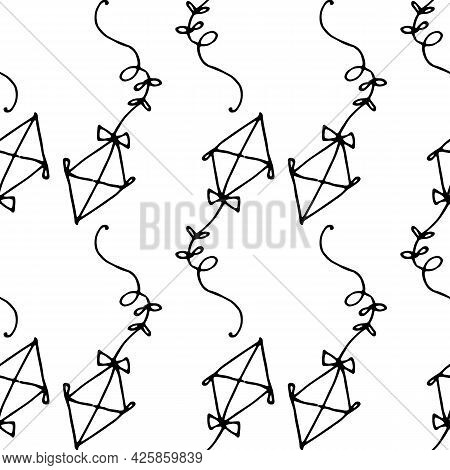 Vector Seamless Pattern Of A Kite. A Hand-drawn Kite In The Style Of Doodles In The Shape Of A Diamo