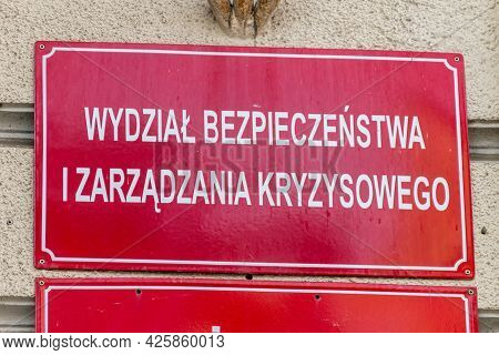 Gorzow Wielkopolski, Poland - June 1, 2021: Sign Department Of Safety And Crisis Management (polish: