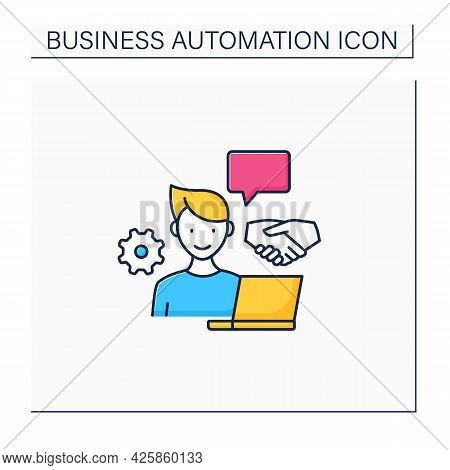 Open Collaboration Color Icon. Open Minded Person. Interaction Participants, Create Products. Busine