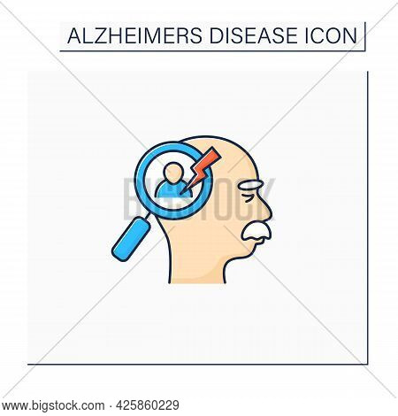 Recognition Problems Color Icon. Trouble Recognize Faces, Objects.alzheimer Disease. Neurologic Diso