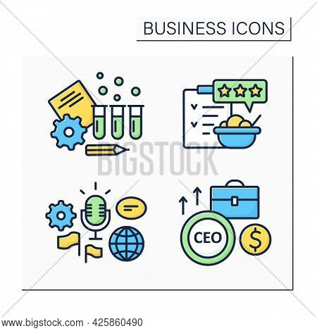 Business Color Icons Set. Global Forum, Rating And Testing. Chief Executive Officer. Business Idea C