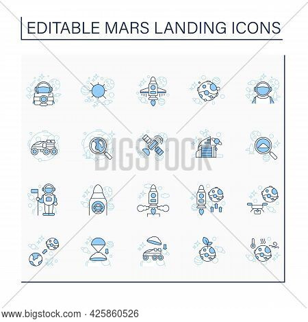 Mars Landing Line Icons Set. Uninhabited Planet. Researching Sample. Exploring New Planet. Cosmos Co