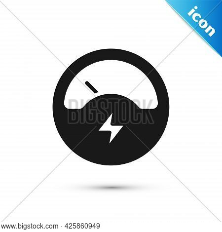 Grey Ampere Meter, Multimeter, Voltmeter Icon Isolated On White Background. Instruments For Measurem
