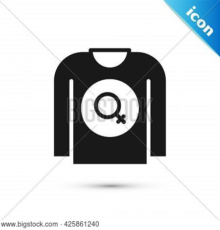 Grey Feminist Shirt Icon Isolated On White Background. Fight For Freedom, Independence, Equality. Ve