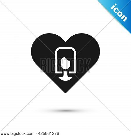 Grey Heart With Female Icon Isolated On White Background. Venus Symbol. The Symbol For A Female Orga