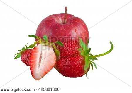 Red Apple Varieties Gala And Strawberry With Green Sepals Isolated On A White Background.
