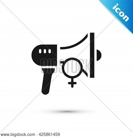 Grey Female Movement, Feminist Activist With Banner And Placards Icon Isolated On White Background.