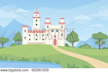 Landscape With Medieval Castle. Cartoon Fantasy Royal Palace With Towers. Old Kingdom Building, Gree
