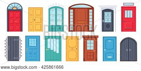 Retro Doors. Cartoon Front Doorway Exterior With Brick Wall. House Or Office Entrance With Glass. Wo