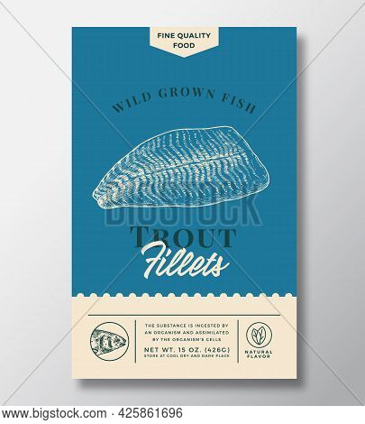 Wild Trout Abstract Vector Packaging Design Or Label. Modern Typography Banner, Hand Drawn Fish Fill