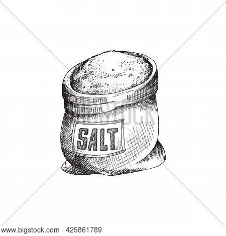 Sack With Label Full Of Granular Salt A Vector Illustration In Engraved Style.