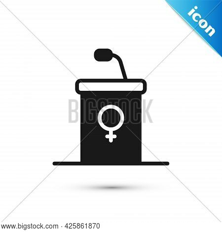 Grey Stage Stand Or Debate Podium Rostrum Icon Isolated On White Background. Conference Speech Tribu