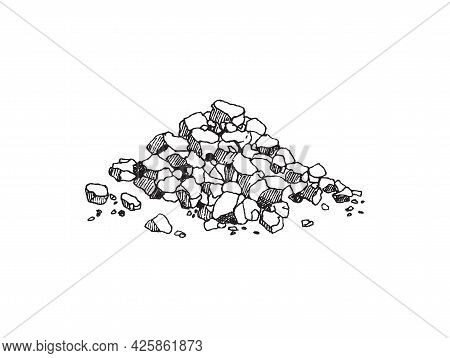Heap Crystals Of Sea Salt Hand Drawn Vector Illustration Isolated On White.