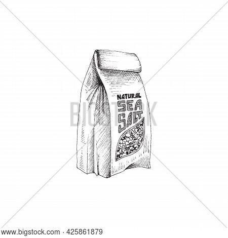 Sea Salt Paper Bag, Hand Drawn Engraving Vector Illustration Isolated On White.