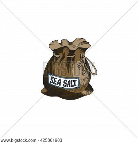 Canvas Sack Or Bag With Sea Salt Engraving Style Vector Illustration Isolated.