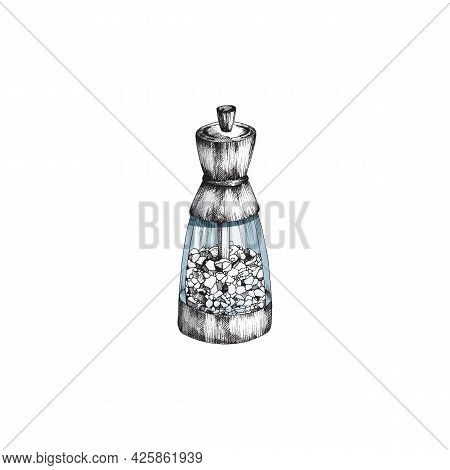 Kitchen Glass Saltshaker With Pieces Of Sea Salt A Vector Illustration
