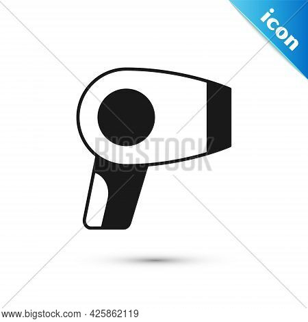 Grey Hair Dryer Icon Isolated On White Background. Hairdryer Sign. Hair Drying Symbol. Blowing Hot A