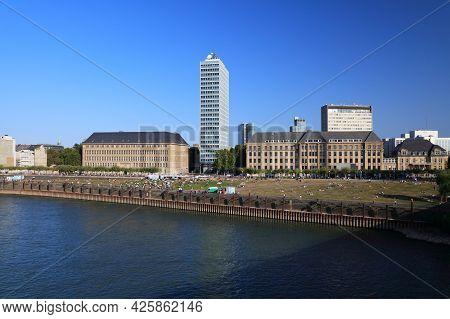 Dusseldorf City Skyline, Germany. City Seen From River Rhine. Carlstadt District.
