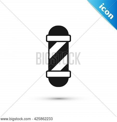 Grey Classic Barber Shop Pole Icon Isolated On White Background. Barbershop Pole Symbol. Vector