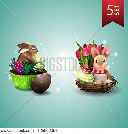 Set Of Easter Icons, Easter Cake, Easter Bunny And Tulips