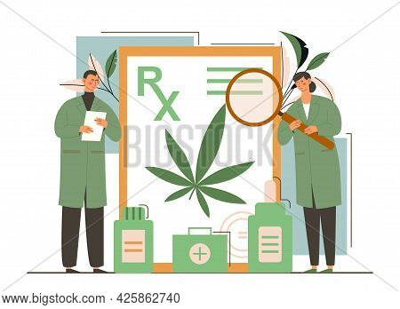 Male And Female Doctors Showing Prescription For Medical Marijuana, Bottle With Cbd Oil. Concept Of
