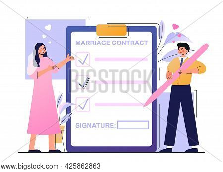 Young Bride And Groom Are Signing Marriage Contract Together. Happy Couple Getting Married And Signi