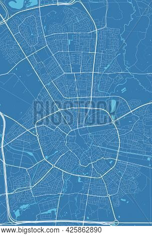 Detailed Map Of Eindhoven City Administrative Area. Cityscape Panorama. Decorative Graphic Tourist M